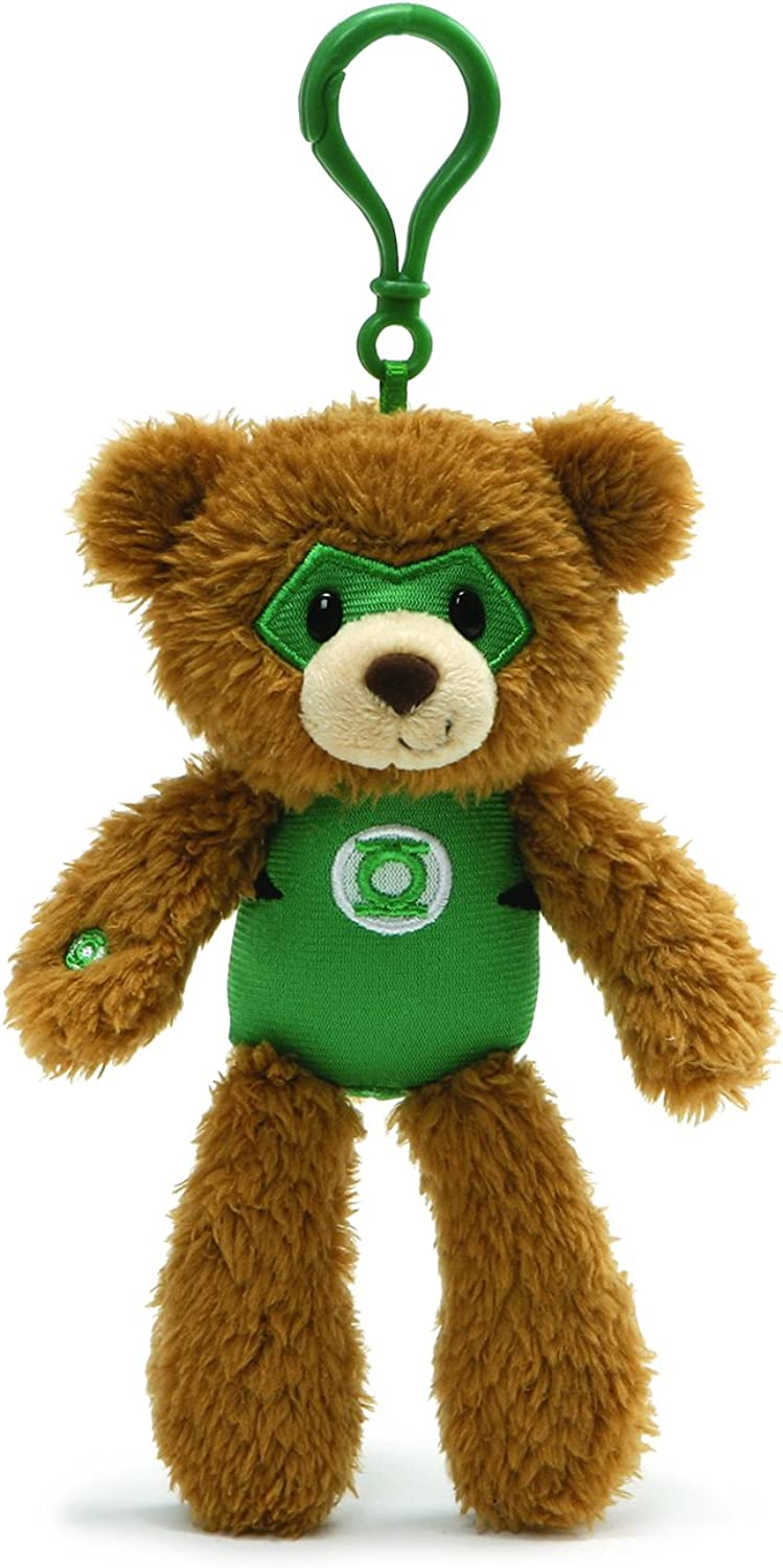 "Gund DC Comics Fuzzy Green Lantern Plush Backpack Clip, 6.5"" , Brown"