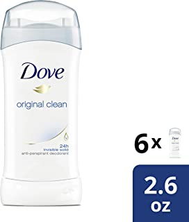 Dove Antiperspirant Deodorant, Original Clean 2.6 Ounce, (Pack of 6)