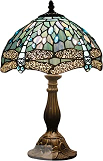 Tiffany Lamp 18 Inch Tall Sea Blue Stained Glass Dragonfly Crystal Style Shade Accent Antique End Bedside Art Table Desk Light Decorative Living Room Bedroom College Dorm S147 WERFACTORY