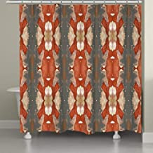 Autumn Crepe Myrtle Shower Curtain Orange Abstract Modern Contemporary Polyester