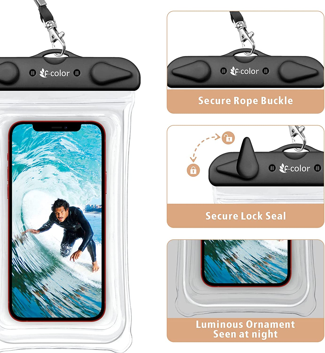 F-color Waterproof Phone Case, 2 Pack Transparent PVC Waterproof Phone Pouch Dry Bag, Beach Accessories for Vacation Kayaking Camping Snorkeling Cruise, Compatible for iPhone 12 Pro Max XR 8 7 Galaxy