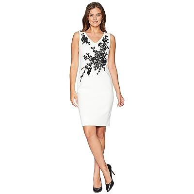 Calvin Klein Beaded Detail Sheath Dress CD8M19PG (Cream/Black) Women