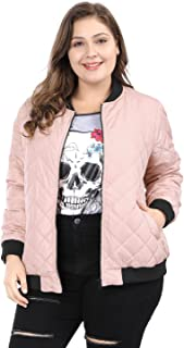 4bf7529f79c Agnes Orinda Women s Plus Size Zip-up Contrast Color Quilted Bomber Jacket