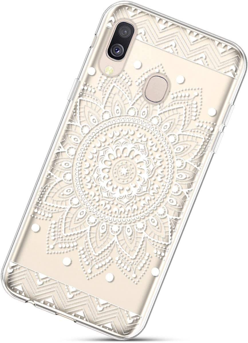 Herbests Compatible with Samsung Galaxy A40 Flower Case Girls Men Clear Design Thin Slim Fit Soft Flexible Crystal Transparent Silicone Rubber TPU Back Cover,Banana Leaf