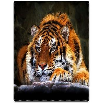 Kuscheldecke Microfaser Flauschdecke weißer Tiger 120  x 150 cm