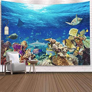SOAUTY Wall Tapestry, Tapestry Wall Hangings 80X60Inch Underwater Coral Reef Landscape Background Deep Blue Ocean Living Room Bedroom Art Tapestry Wall Covering Home Décor,Beige Green