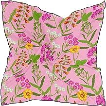 Women's Soft Polyester Silk Square Scarf Snapdragon Red Vintage Flower Fashion Print Head & Hair Scarf Neckerchief Accessory-23.6x23.6 Inch