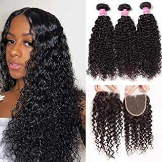 Sunber Kinkys Curly Human Hair Bundles with Closure Free Part Unprocessed Brazilian Virgin Curly Hair 10A Grade 44 Lace Closure 100% Human Hair Natural Black (16 18 20+14free Part Lace Closure)