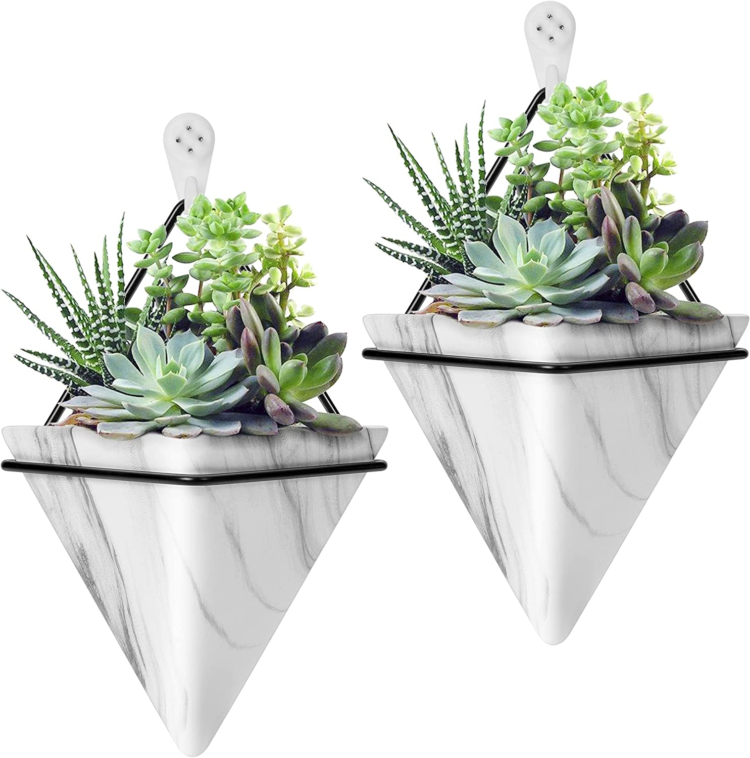 VIVOSUN 2-Pack Hanging Wall Planter Geometric Décor Vase for Succulent, Cactus and Faux Plants Wedding Birthday Gift 5.9 Inch