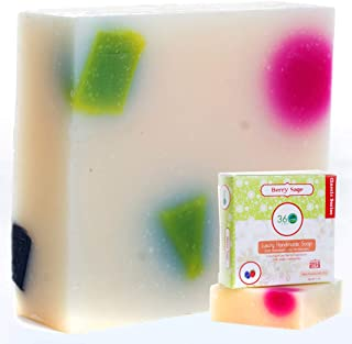 360Feel Berry Sage Soap -5oz Castile Handmade Soap bar-Fresh Fruity, Berry with Sage undertones- Pure Essential Oil Natural Soaps- Great as Anniversary Wedding Gifts-Christmas Stocking Stuffers