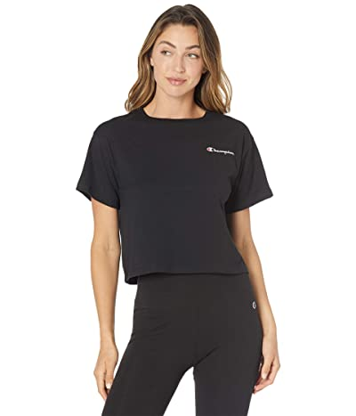 Champion Cropped Tee Left Chest Script