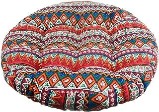 Solid Papasan Patio Seat Cushion Round Chair Pad Home Floor Cushion 22 Inch Throw Pillows Bohemia Indoor/Outdoor Red