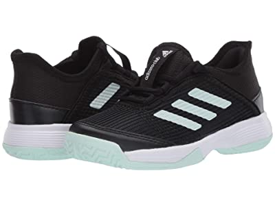 adidas Kids Adizero Club Tennis (Little Kid/Big Kid) (Black/Dash Green/White) Girl