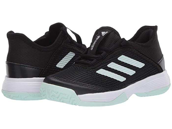 adidas Kids  Adizero Club Tennis (Little Kid/Big Kid) (Black/Dash Green/White) Girls Shoes