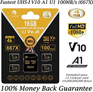 4-Pack TF Card 16GB Micro SD SDHC Memory Plus Adapter (Class 10 U1 UHS-I V10 A1 MicroSDHC) Amplim 4X 16 GB Ultra High Speed 100MB/s 667X Flash for Cell Phone Tablet GoPro Camera Fire Nintendo 3DS DJI