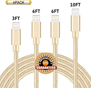 GUIGUI Phone Charger 4Pack 3FT 6FT 6FT 10FT Nylon Braided USB Charging & Syncing Cord Compatible with Phone X Phone 8 8 Plus 7 7 Plus 6s 6s Plus 6 6 Plus Pad Pod Nano -Gold