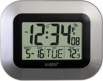 La Crosse Technology WT-8005U-S Atomic Digital Wall Clock with Indoor Temperature,
