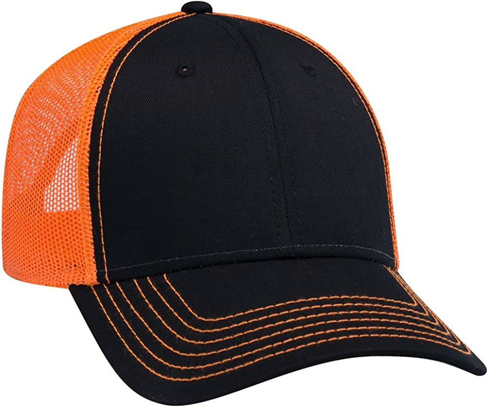 Armycrew 6 Panel Two Tone Contrast Vertical Mesh Back Trucker Cap