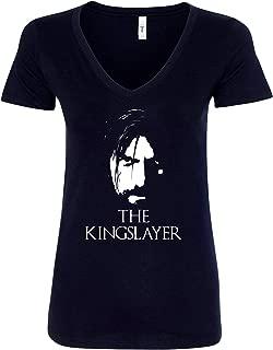 Freedomtees GOT The Kingslayer Jaime Lannister Women V-Neck T-Shirt - Black New