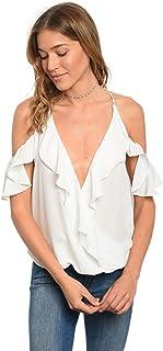 Women White Ruffle Cold Shoulder Plunge Neckline Blouse Top Casual