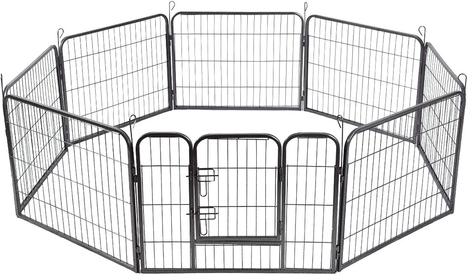 Heavy Duty Puppy Play Pen Dog Pen for Dogs Cat Rabbit Guinea Pig Run Foldable Playpen Indoor Outdoor Black 8 Panel (S(Height 60cm))