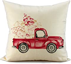 FIBEROMANCE Valentines Truck Heart and Letter Pillow Covers Be Mine Decorative Cushion Cases Pillow Case for Sofa Couch Bedroom Car Spring Home Decor Cotton Square Pillowcase 18 x 18 Inch