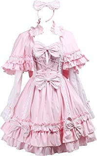 Antaina Pink Cotton Bows Ruffle Sweet Victorian Lolita Dress with Cape Headware