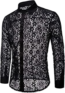 Men's Shirt Stylish Long Sleeve Basic Slim Fit Night Club Style Lace Flower Shirt Long Sleeve Sexy Mesh See Through Dress ...