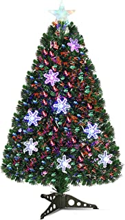 Goplus Pre-Lit Fiber Optic Artificial Christmas Tree, with Multicolor Led Lights and Snowflakes (3 FT)