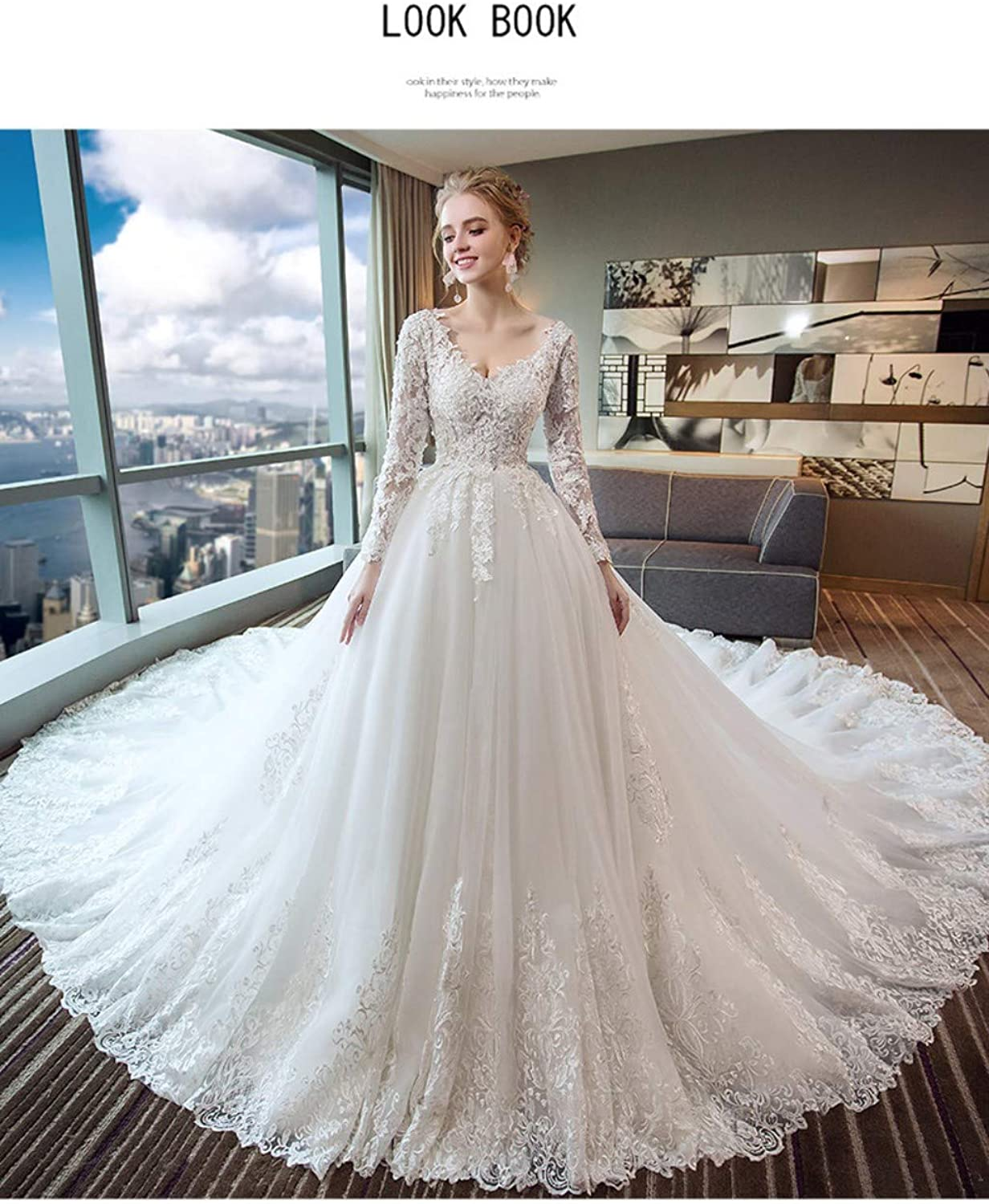 Darcy74Dulles Women's VNeck Lace Wedding Dresses Bridal Gowns Long Sleeves Ball Gowns with Appliques
