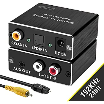 ROOFULL Digital-to-Analog Audio Converter 192Khz DAC: Digital Coaxial and Optical (Toslink) to Analog 3.5mm AUX and RCA (L/R) Stereo Audio Adapter with Fiber and Coax Cable