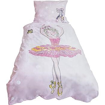 Funda de edredón infantil bailarina de 140 x 200 cm y funda de almohada de 70 x 90 cm, 100% algodón: Amazon.es: Hogar