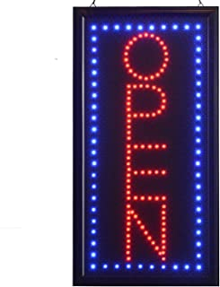 LED Open Sign,10x19inch Vertical Light Up Sign LED Business Open Sign Advertisement Board Electric Display Sign Flashing & Steady Mode Electronic Lighted Signs for Business, Walls, Window, Shop, Bar,