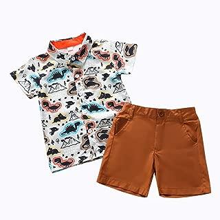 KONIGHT Toddler Baby Boys Summer Clothes Dinosaur/Animal Tops Shirts+Shorts Short Sleeve Shorts Sets Outfits