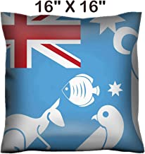 Liili 16x16 Throw Pillow Cover - Decorative Euro Sham Pillow Case Polyester Satin Soft Handmade Pillowcase Couch Sofa Bed The Australia Flag with Some White sillhouettes of Animals Image ID 22898608