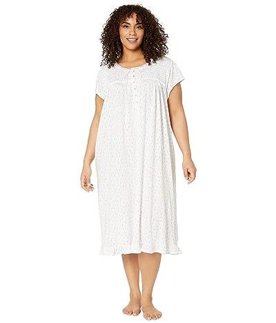 Eileen West Plus Size Cotton Modal Jersey Knit Cap Sleeve Waltz Nightgown (White Ground/Hearts/Buds) Women