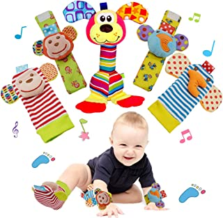 Wrist Rattle and Foot Finder Socks Toy for Baby, Soft Animal Newborn Toys & Teething Toy Set for Infant Development, Birth...