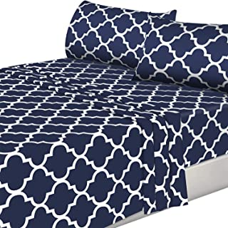 Utopia Bedding 4PC Bed Sheet Set 1 Flat Sheet, 1 Fitted Sheet, and 2 Pillowcases (Queen, Navy)