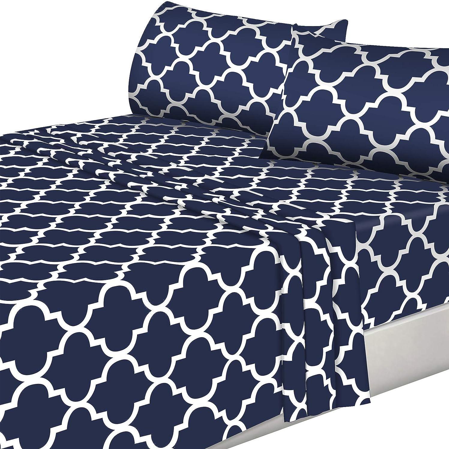 摂動チャットケーキ(Queen, Navy) - 4 Piece Bed Sheets Set (Queen, Blue) Flat Sheet + Fitted Sheet + 2 Pillow Cases, Hotel Quality Brushed Velvety Microfiber, Wrinkle, Fade & Stain Resistant - Luxurious, Comfortable, Breathable, Soft & Extremely Durable - By Utopia Bedding
