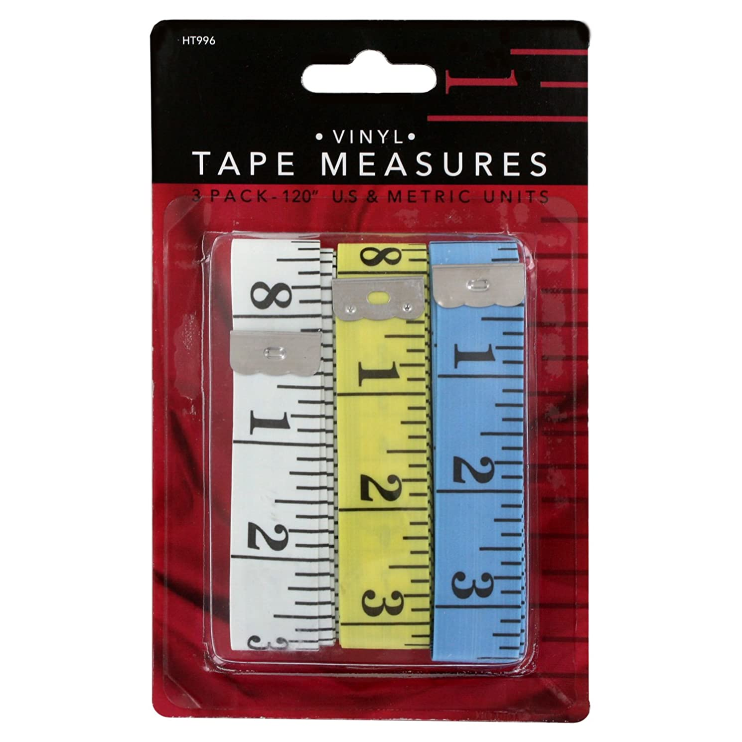 Junipers Soft Vinyl Sewing Tailoring Tape Measure, Assorted Colors, Pack of 3 (120 Inch)