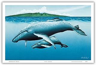 Pacifica Island Art New Birth - Hawaiian Humpback Whales (Kohol_) - Mother and her Calf - Original Color Painting by Mark MacKay - Hawaiian Master Art Print - 12 x 18in