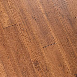 Hickory Hand Scraped Prefinished Engineered Wood Flooring, Autumn, Sample, by Hurst Hardwoods