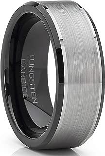 Men's Tungsten Carbide Wedding Band Flat Top Brushed Two Tone Black Ring 8mm