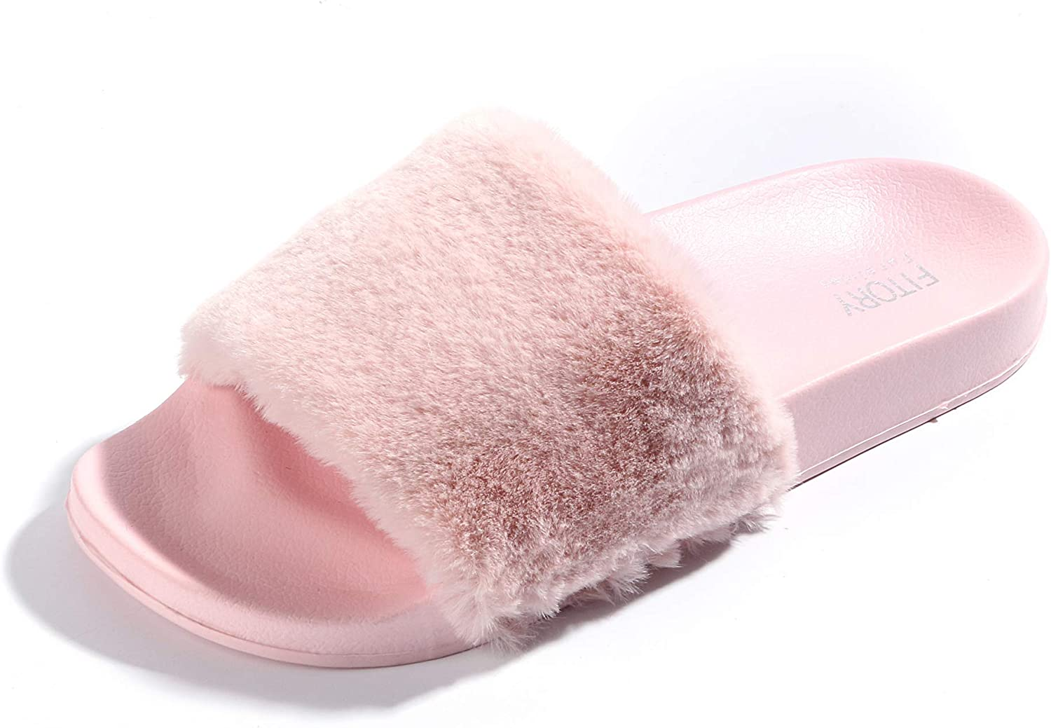 FITORY Women Slides Slippers,Faux Fur Slide Slip On Flats Sandals Arch Support Open Toe Soft Girls Indoor Outdoor shoes