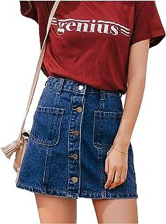 e40c03ca8 High Waist A-line Mini Skirts Women Summer Single Button Pockets Blue Jean Skirt  Style