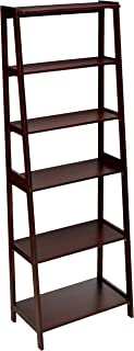 AmazonBasics Classic 5-Shelf Open Bookcase Organizer with Solid Rubber Wood Frame - Espresso