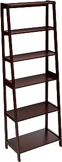 AmazonBasics Classic 5-Shelf Open Bookcase Organizer with Solid Rubber Wood Frame - Espresso