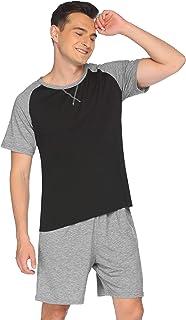 Pajamas Men Short Pyjama Summer Short Sleeve Nightwear Two-Piece Sleeping Overall O-Neck Striped Shorty Set incl. Pants To...