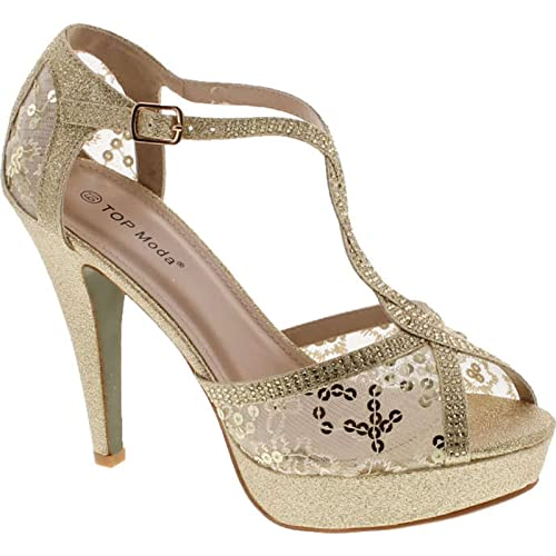 5b962757e61571 Top Moda Hy-5 Open Toe Crochet High Heel Sandals