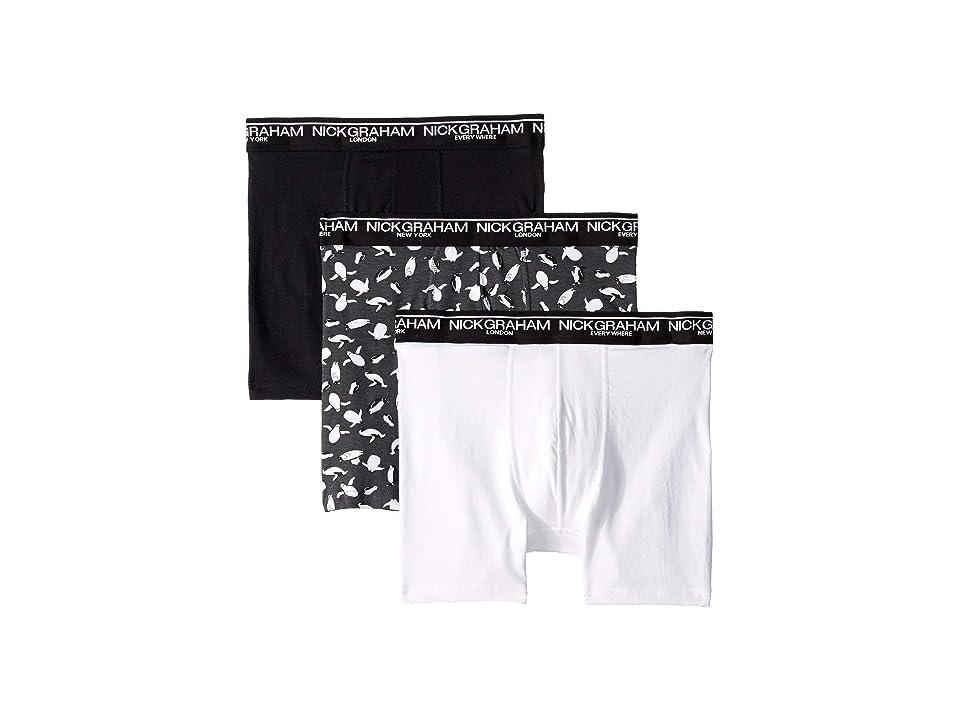 Nick Graham 3-Pack Penguin in Your Pants Boxer Brief (Black/White) Men
